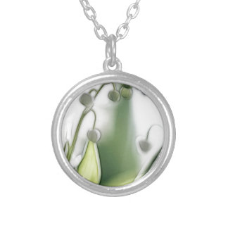 Lily of the Valley Flower Repetition Sketch Silver Plated Necklace