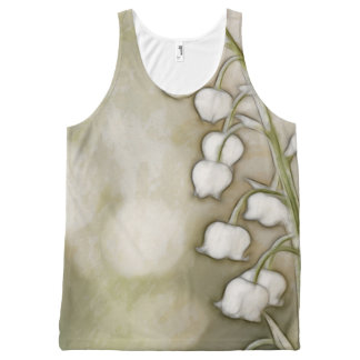 Lily of the Valley Flower Sketch All-Over Print Singlet