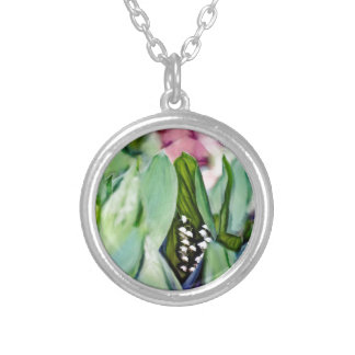 Lily of the Valley Flowers Hidden in the Leaves Silver Plated Necklace