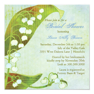 Lily of the Valley Green Floral Bridal Shower Card