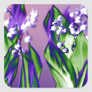 Lily of the Valley in Lavender Square Sticker