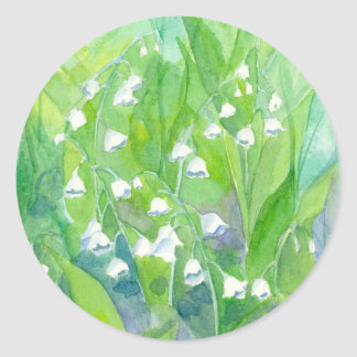 Lily of the Valley May Flowers Watercolor Painting Classic Round Sticker