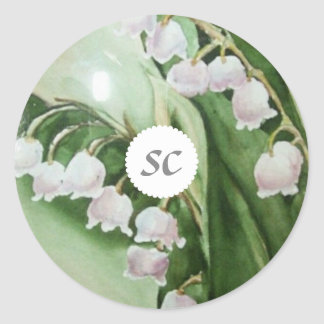 LILY OF THE VALLEY SEALED WITH LOVE CLASSIC ROUND STICKER