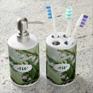 LILY OF THE VALLEY SOAP DISPENSER AND TOOTHBRUSH HOLDER