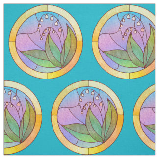 Lily of the Valley Stained Glass Look Fabric