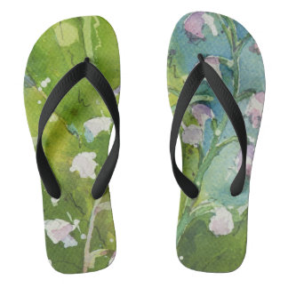 Lily of the Valley watercolor flip flops