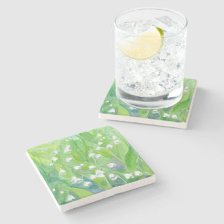 Lily of the Valley Watercolor Flower Painting Stone Coaster