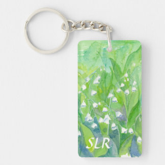 Lily of the Valley Watercolor Painting Monogram Key Ring