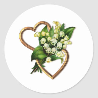 Lily of the Valley with Two Hearts Classic Round Sticker