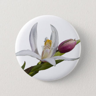 lily on white background 6 cm round badge