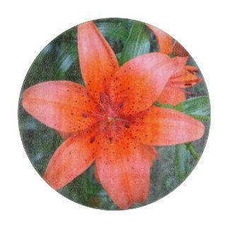 Lily Orange Speckled Flower Cutting Boards