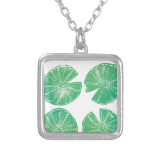 Lily pads silver plated necklace