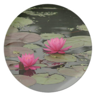Lily Pads With Pink Flowers Plate