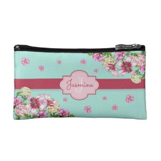 Lily & Peony Floral Aqua Cosmetic Bag