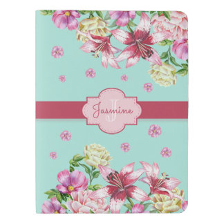 Lily & Peony Floral Aqua Extra Large Moleskine Notebook