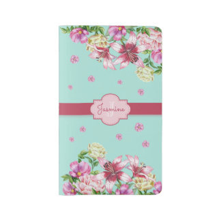 Lily & Peony Floral Aqua Large Moleskine Notebook