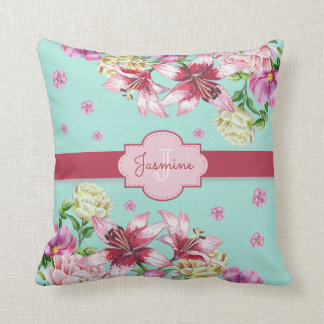Lily & Peony Floral Aqua Throw Pillow