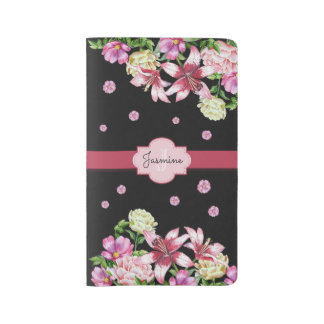 Lily & Peony Floral Black Large Moleskine Notebook