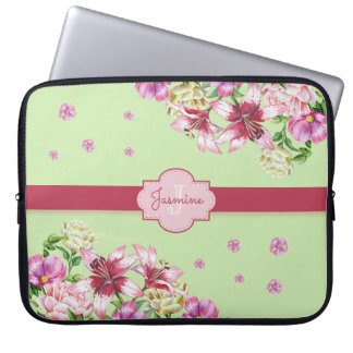 Lily & Peony Floral Mint Green Laptop Sleeve