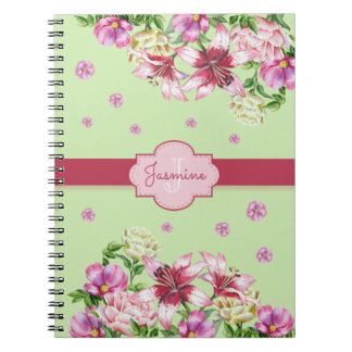Lily & Peony Floral Mint Notebook