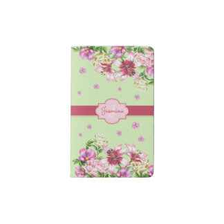Lily & Peony Floral Mint Pocket Moleskine Notebook