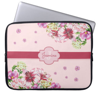 Lily & Peony Floral Pink Laptop Sleeve