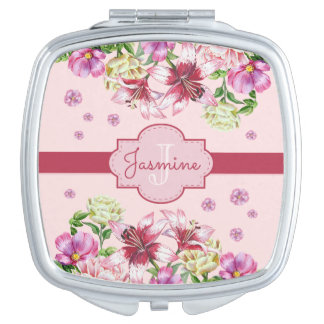 Lily & Peony Floral Pink Makeup Mirror