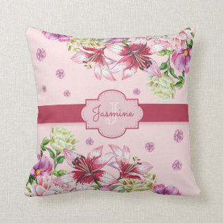 Lily & Peony Floral Pink Throw Pillow