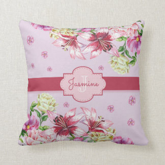 Lily & Peony Floral Purple Throw Pillow