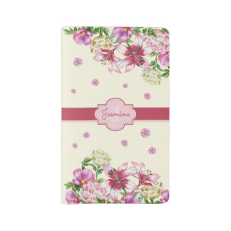 Lily & Peony Floral Yellow Large Moleskine Notebook