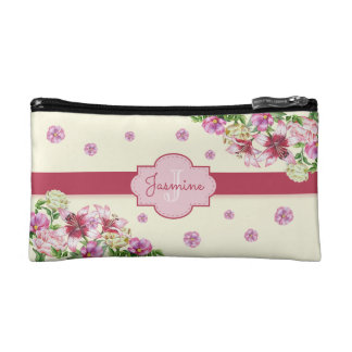 Lily & Peony Floral Yellow Makeup Bag