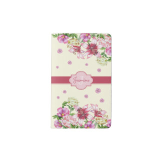 Lily & Peony Floral  Yellow Pocket Moleskine Notebook