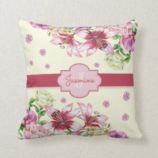 Lily & Peony Floral Yellow Throw Pillow