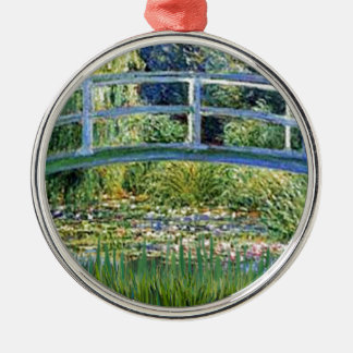 Lily Pond Bridge - insert your pet Metal Ornament