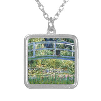 Lily Pond Bridge - insert your pet Silver Plated Necklace