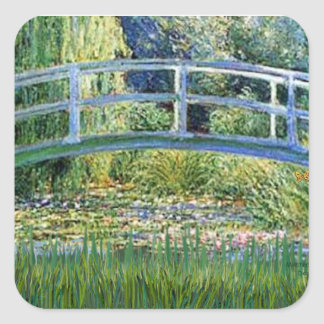 Lily Pond Bridge - insert your pet Square Sticker