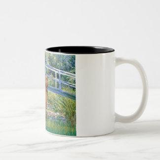 Lily Pond Bridge - Vizsla 2 Two-Tone Coffee Mug