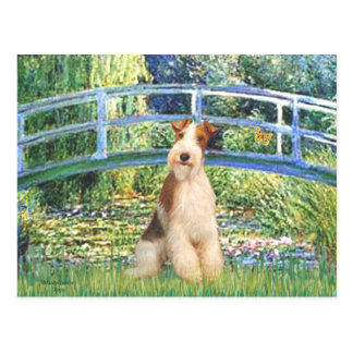 Lily Pond Bridge - Wire Fox Terrier 3 Postcard