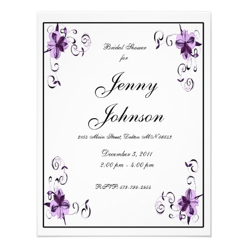 Lily Scroll Purple Invitation