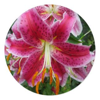 Lily Stargazer Purple Flower 13 Cm X 13 Cm Square Invitation Card