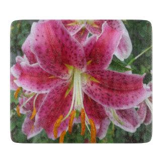 Lily Stargazer Purple Flower Cutting Board