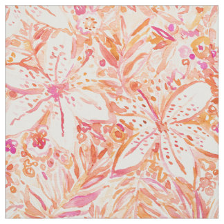LILY SUNSET Beachy Peach Tropical Floral Fabric