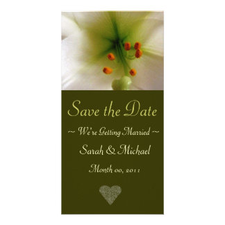 Lily Wedding Announcement Card Personalized Photo Card