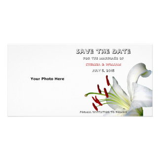 Lily, White and Red Save the Date Photo Cards Photo Card Template