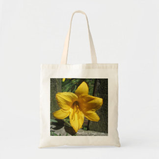 Lily Yellow Weathered Fence Canvas Bag