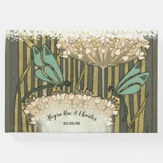 Lilypad Dragonfly Art Deco Wedding Guest Book