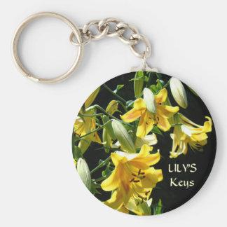 LILY'S Keys keychain Yellow Lily Flowers key chain