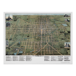 Lima, OH Panoramic Map - 1892 Poster