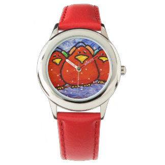 LimbBirds Stainless Steel Red Watch