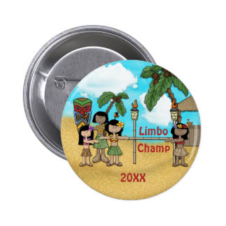 Limbo Luau Birthday Party - Limbo Champ 6 Cm Round Badge